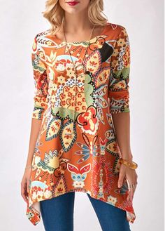 Round Neck Sharkbite Hem Printed Orange Blouse on sale only US$29.69 now, buy cheap Round Neck Sharkbite Hem Printed Orange Blouse at liligal.com