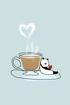 bookish panda with latte Panda Love, Cute Panda, Panda Panda, Panda Bears, Pencil Art Drawings, Animal Drawings, Panda Images, Little Free Libraries, Free Library