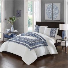 LUX-BED 3 Piece Pearce Garden NEW!! LUX-BED Collections!! 100% Cotton 200 Thread Count Aztec Ribbon Embroidered Tribal Inspired stitch Technique King Comforter Set Navy With 2 Shams, Blue