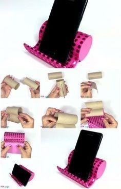 Here's the link to the tutorial >> How to Make Phone Holder from Toilet Paper Rolls << by Innova Crafts Cute Crafts, Diy And Crafts, Cool Diy, Easy Diy, Diy Phone Stand, Diy Phone Holders, Toilet Paper Roll Crafts, Toilet Paper Rolls, Ideias Diy