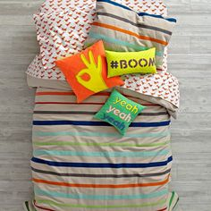 Shop Essential Stripe Duvet Cover.  This colorful, striped duvet cover is a must-have for any bedroom.  With a reversible design that features a bright vibrant pattern, it's made from comfy 100% cotton.