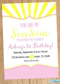 You Are My SUNSHINE Printable Birthday Invitation, You Are My Sunshine Personalized Birthday Invite,  Red and Turquoise Button Invite by LollipopInk on Etsy https://www.etsy.com/listing/174363255/you-are-my-sunshine-printable-birthday