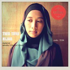 Two Tone : Dark Brown & Tosca - square #hijab