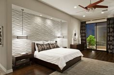 Bedroom Design, Cool Contemporary Bedroom With White Texture Bedroom Wall Designs Also Comely Twin Pendant Lamp Also Mod Brown Nightstand Also Queen Size Bed With Brown Wooden Divan Also White Quilt And Brown Pillowcase: Two Best Bedroom Wall Designs Modern Master Bedroom, Modern Bedroom Design, Master Bedroom Design, Interior Modern, Contemporary Bedroom, Home Bedroom, Bedroom Decor, Interior Design, Bedroom Ideas