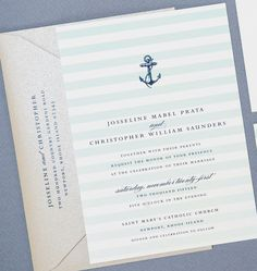 NEW Josseline Nautical Wedding Invitation by CricketPrinting, i really like the soft stripes in the background.