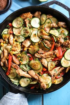 Southwest Chicken Skillet with Corn and Zucchini is the perfect veggie-loaded dinner made all in one pot!
