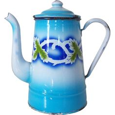Vintage French Patterned Enamel Coffee Pot, Blue & White Enamel from department18 on Ruby Lane