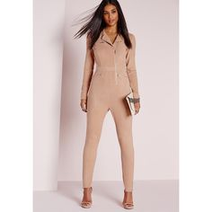 Missguided Faux Suede Zip Detail Jumpsuit ($77) ❤ liked on Polyvore featuring jumpsuits, nude, jump suit, long sleeve jump suit, long sleeve jumpsuit, pink jumpsuit and jumpsuits & rompers
