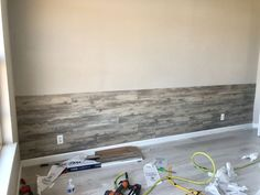 Master Bedroom peel and stick vinyl plank accent wall. Quick and easy way to give your boring wall, a quick one day solo makeover! Hometalk Partner Source by CountryDsgnStyl Flooring On Walls, Wood Plank Walls, Vinyl Plank Flooring, Wood Planks, Vinyl Planks, Floors, Plank Wall Bedroom, Accent Wall Bedroom, Accent Walls