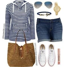 Plus size nautical sweater outfit with navy stripe sweater, denim Bermuda shorts, converse sneakers, aviator sunglasses, and tote bag. Short Outfits, Summer Outfits, Casual Outfits, Cute Outfits, Mode Chic, Mode Style, Shorts And Converse, Converse Sneakers, Navy Converse