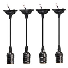 KINGSO 4 Pack E27 Socket Screw Bulbs Edison Retro Pendant Lamp Holder With Wire Without Switch 110-220V (Black)