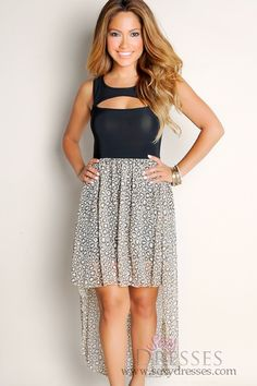 1729f871893 Sexy Black Born To Be Wild Animal Print Cut Out Wide Strap High-Low Maxi  Dress