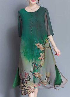 Silk jute Florale 1039110/1039110 manches Mi-mollet Décontracté Robes (1039110) @ floryday.com