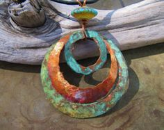 Copper Jewelry Pendant Fire Patina Copper Medallion by Gasquetgirl
