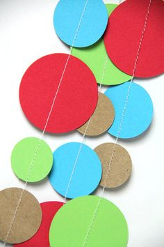 Red, Green, Brown & Blue circle garland (15 feet) - READY TO SHIP