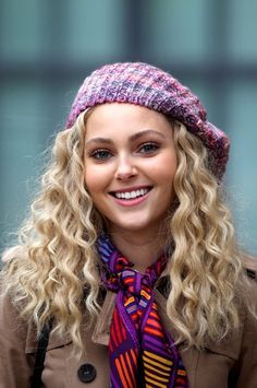 Pink and purple knitted beret, trench coat, silk scarf (AnnaSophia Robb)