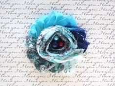 Blue Paisley Shabby Chic Chiffon Newborn Headband by CappyClips, $3.50