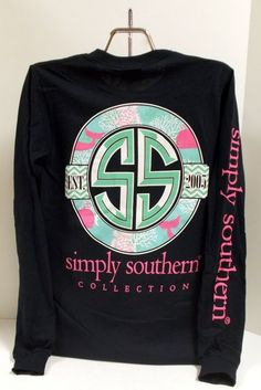 Simply Southern Tees Navy Blue and Pink Whales Long Sleeve Pocket T-Shirt