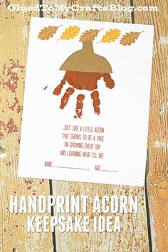 Handprint Acorn Poem - Free PrintablePaint For Arts And Crafts Fall Leaves CraftHandprint Fall Leaves CraftEasy DIY Halloween Crafts for Kids to Make - Handprint & Footprint ArtHalloween Frankenstein footprintFall Harvest Footprint Craft Fall Crafts For Toddlers, Thanksgiving Crafts For Kids, Autumn Activities For Babies, Baby Fall Crafts, Autumn Art Ideas For Kids, Harvest Crafts For Kids, Thanksgiving Table, Kids Diy, Daycare Crafts