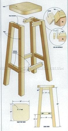 Wood Shop Projects, Diy Furniture Projects, Diy Furniture Plans, Woodworking Furniture, Diy Wood Projects, Diy Bar Stools, Diy Stool, Diy Chair, Woodworking Projects Diy