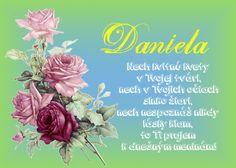 Daniela Nech kvitnú kvety v Tvojej tvári, nech v Tvojich očiach slnko žiari, nech nespoznáš nikdy lásky klam, to Ti prajem k dnešným meninám!