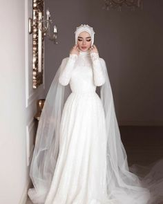 Muslim Wedding Gown, Hijabi Wedding, Wedding Hijab Styles, Muslimah Wedding Dress, Disney Wedding Dresses, Muslim Brides, Pakistani Wedding Dresses, Princess Wedding Dresses, Dream Wedding Dresses