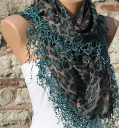 -Multicolor Scarf  Headband Necklace Cowl with Lace by fatwoman, $17.00