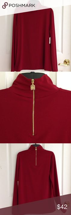 Anne Klein Turtleneck with Gold Back Zipper Anne Klein red turtleneck with gold back zipper. 95% polyester 5% elastane. Beautiful Titian Red. Soft material. Gorgeous! Anne Klein Tops