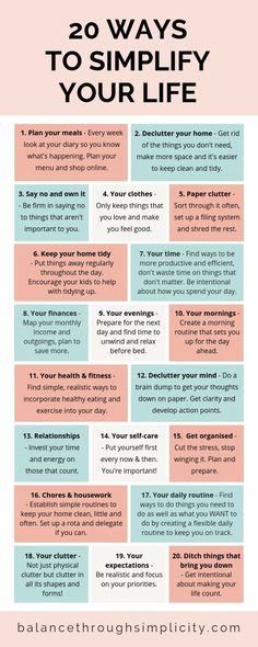 20 ways to simplify your life - Balance Through Simplicity . - 20 ways to simplify your life – Balance Through Simplicity - Vie Motivation, Health Motivation, Healthy Lifestyle Motivation, Healthy Lifestyle Changes, Vie Simple, Self Care Activities, Self Improvement Tips, Self Care Routine, Life Organization