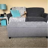 Brecksville Tufted Storage Ottoman & Reviews | Joss & Main Chunky Knit Throw, Classic Living Room, Tufted Storage Ottoman, Cocktail Ottoman, Wood Tray, Cool Fabric, Tufting Buttons, Storage Spaces, Upholstery