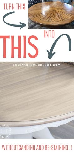 I wanted to find was an easier way to update a table, but still have a beautiful, wood-look top that also would have great durability. And I think I've got it! No sanding down or re-staining required! I'm excited to share this makeover with you today because I know you will be able to use this technique to update your own kitchen table using just paint and stain, without the messy and time-consuming process of totally refinishing it. #kitchentable #weatheredwood #howtopaintatable #ho Sanding Furniture, Sanding Wood, Painted Furniture, Furniture Redo, Refinished Furniture, Repurposed Furniture, Painted Table Tops, Painted Kitchen Tables, Kitchen Paint