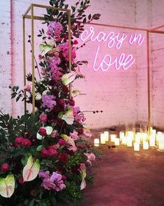 Lights are used throughout wedding reception and ceremony spaces to make them more welcoming and inviting and to create a cozy ambience. You can also make a cool wedding backdrop, arch or altar with lights. Marie's Wedding, Wedding Goals, Wedding Themes, Wedding Signs, Perfect Wedding, Wedding Bouquets, Wedding Ceremony, Wedding Flowers, Wedding Planning