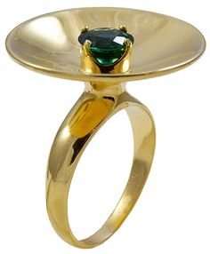 Gold concave dish shaped Ring centrally set with a glowing Green Gem Zircon | From a unique collection of vintage solitaire rings at https://www.1stdibs.com/jewelry/rings/solitaire-rings/
