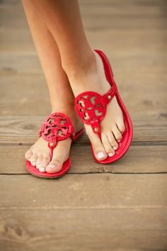 Featured on the Pink Peonies blog: Tory Burch Red Patent Leather Sandals The Best of casual fashion in 2017.
