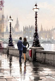 Richard Macneil ~View From The Embankment ~ Image Halloween, Beautiful Paintings, Diy Painting, Painting Inspiration, Watercolor Paintings, Art Drawings, Illustration Art, Illustrations, Art Gallery