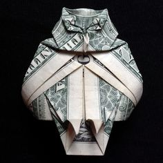 Money Origami OWL Charm Art Handmade of Real One Dollar Bill by trinket2shop on Etsy