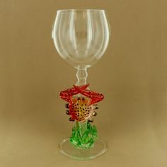 Crab with Coral Wine Glass - Fire and Ice