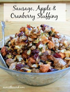 Sausage, Apple & Cranberry Stuffing - This tasty stuffing is packed with flavor and easy to whip up. It's a must have at any Holiday gathering! Top 10 Thanksgiving Sides, Thanksgiving Menu, Thanksgiving Stuffing, Christmas Stuffing, Fall Recipes, Holiday Recipes, Christmas Recipes, Christmas Foods, Holiday Meals