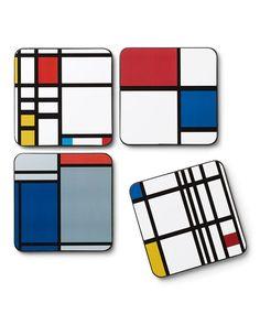 Art Deco decor Mondrian Drinks Coasters 6 Bauhaus Style Modernist Coasters