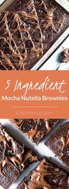 5 Ingredient Mocha Nutella Brownies. Using only a boxed brownie mix along with 4 common pantry ingredients, these rich and fudgy brownies are everything dreams are made of!