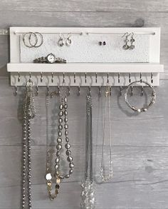 Jewelry Organizer Holder white - Necklace Organizer Holder - Wall Mounted Wood, Necklaces Bracelets, Earrings