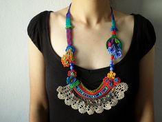 New to irregularexpressions on Etsy: beaded crochet statement necklace - with orange red blue and green beaded flowers and cream crochet lace (188.00 USD)