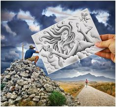 Pencil Vs Camera mixes drawing and photography, imagination and reality. It's a new visual concept invented and initiated by Ben Heine in Pencil Camera, Camera Art, Pencil Art, Camera Hacks, Creative Pencil Drawings, Creative Artwork, Ben Heine, 3d Fantasy, Wow Art