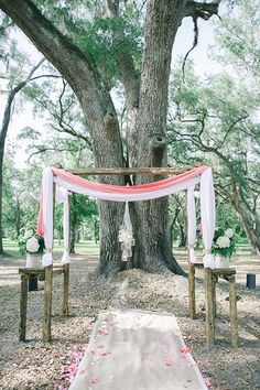 sweet ceremony set-up under a tree | Julie Paisley #wedding