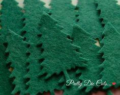 Felt Christmas Trees Xmas Decoration Felt by PrettyDieCuts on Etsy