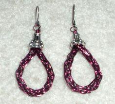 Burgundy Viking Weave Earrings