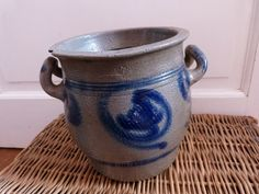 Antique stoneware crock pot, antique French butter crock Alsace, handmade antique pottery glazed blue pot, country cottage kitchen decor via Etsy