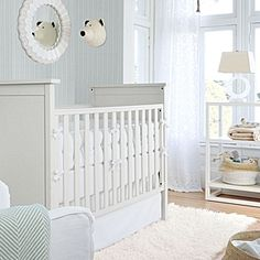 The All-White Nursery #serenaandlily - white crib bumper and crib sheet
