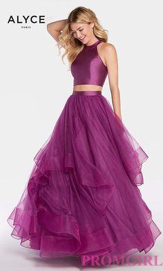 Two-Piece Open-Back Long Prom Dress by Alyce