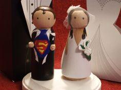 Custom Superhero and his Bride Cake Topper-Superman, Thor, Captain America, Batman, Ironman - Personalized for You #cake $60